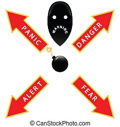 figyelmeztetés, bombáz