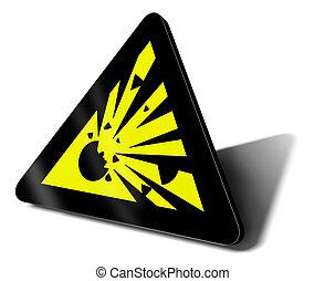 figyelmeztetés, felrobbanás, aláír
