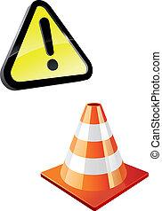 figyelmeztetés, forgalom tölcsér, aláír