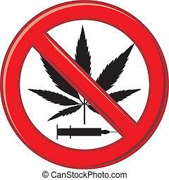 figyelmeztetés, megtilt, kábítószer