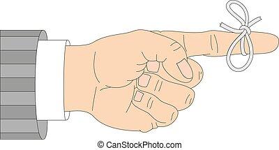 figyelmeztetés, szalag, ábra, vektor, íj, kéz, háttér, ikon, fehér