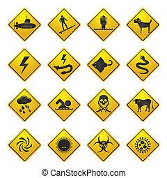 figyelmeztetés, tenger, cégtábla