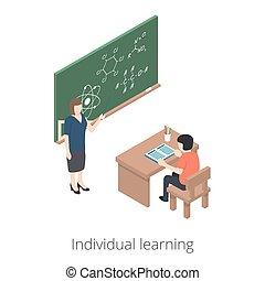 figyelmeztet, 10, isometric, learning., illustration., lakás, mód, elszigetelt, háttér., egyén, student., vector., fehér, eps, megmagyaráz, tanár, 3