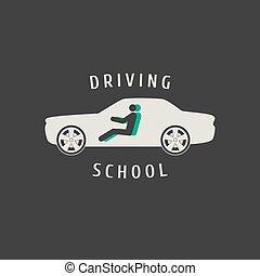 figyelmeztet, hirdetés, vektor, árnykép, autó, autó, izbogis, emblem., aláír, vezetés, autó, element., jel, tervezés, ábra, fogalom, jelvény