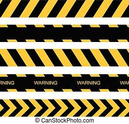 figyelmeztet, seamless, vektor, tapes., lines., figyelmeztetés