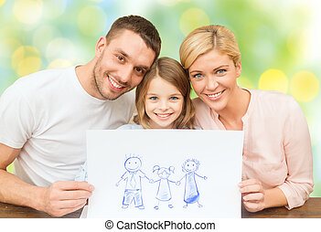 film, boldog, rajz, család, vagy