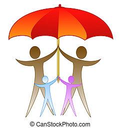 film, esernyő, család, nagy, alatt, piros