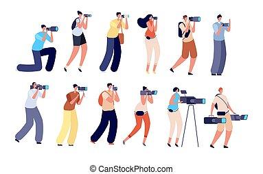 film legénység, készítő, operator., digitális, munka, művész, vektor, ábra, fényképezőgép., profi, betűk, fényképész, video, birtok, fotóriporter