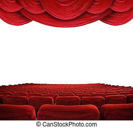 film, piros függöny, színház