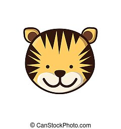 film, színes, csinos, arc, tiger, állat