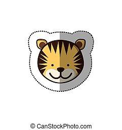 film, színes, csinos, böllér, arc, tiger, állat