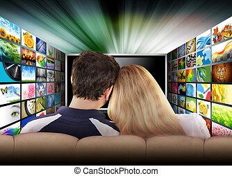 film, televízió, emberek, ellenző, őrzés