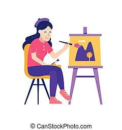 film, vászon, nő, fiatal, rajz, szobafestő