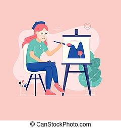 film, vászon, nő, oung, rajz, szobafestő