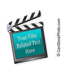 film, vektor, clapperboard, ábra