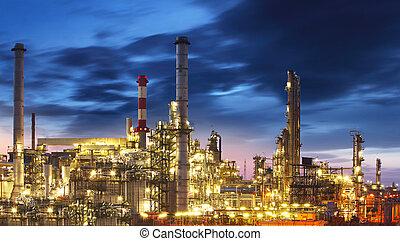 finomító, félhomály, olaj, -, gyár