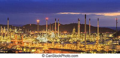 finomító, olaj, félhomály
