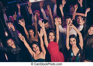 finom, felkelés, kézbesít, celebratory, móka, sikk, klub, esemény, birtoklás, éjszaka, feláll, bájos, tolong, tánc, jókedvű, zene, sötét, bent