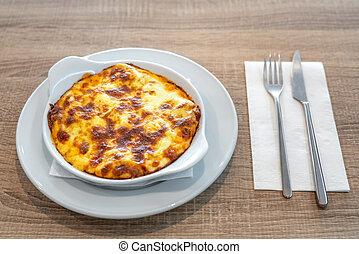 finom, lasagna, lunch., tányér