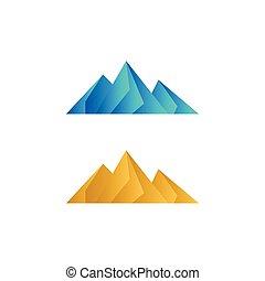 finom, vektor, alacsony, poly, hegy