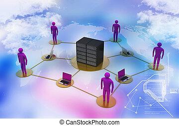 firewall., nagy, laptop, munka, ministráns, emberi, háló, kép, 3