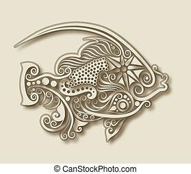 fish, állat, faragás