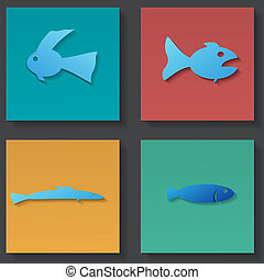 fish, állhatatos, ikonok