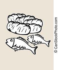 fish, 2, 5, bread