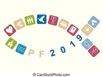 fish, boldog, jelkép, új, symbols., keresztény, 2019, év, kereszténység