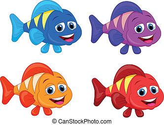 fish, csinos, állhatatos, gyűjtés, karikatúra