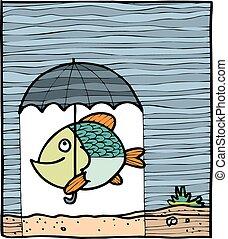 fish, esernyő