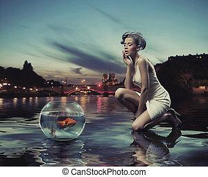 fish, hölgy, szépség, arany