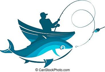 fish, halász, csónakázik