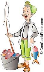 fish, halász, elkap, ábra