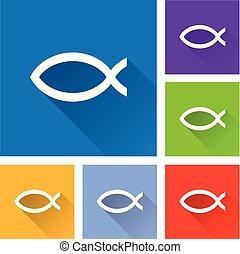 fish, jézus, árnyék, ikonok