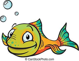 fish, karikatúra, boldog