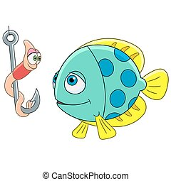 fish, karikatúra, féreg