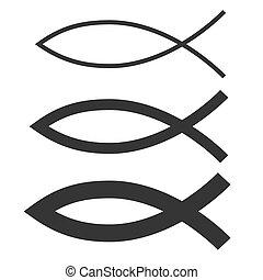 fish, keresztény, vektor, ikonok, állhatatos