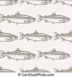fish, lazac, seamless, ábra, kéz, háttér., vektor, húzott, tenger gyümölcsei