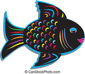 fish, tervezés, színes