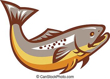 fish, ugrás, retro, pisztráng