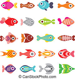 fish, vektor, állhatatos, ikon