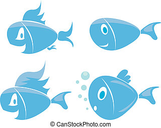 fish, vektor, állhatatos, ikonok