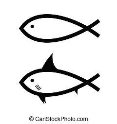 fish, vektor, fekete, fehér