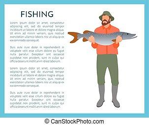 fish, vektor, halász, ábra, kézbesít