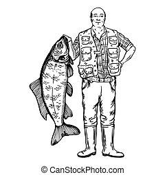 fish, vektor, halász, ábra