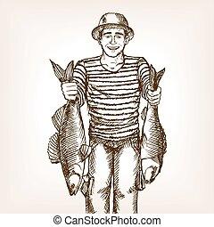 fish, vektor, halász, skicc