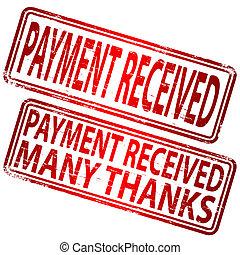 fizetés, befogadott, bélyeg