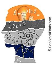 fizika, fej, árnykép, diák