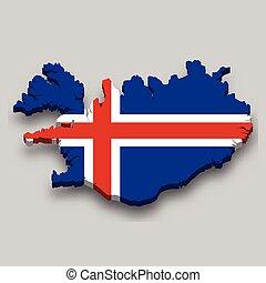 flag., 3, isometric, izland, nemzeti térkép